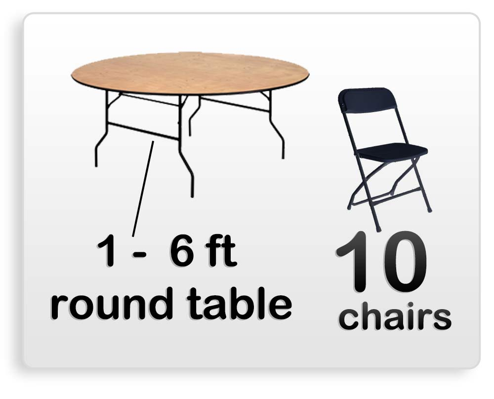 1 6ft Round Table 10 Chairs