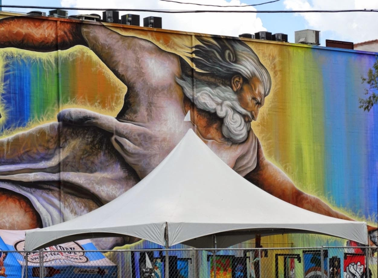 20 x 20 High Peak frame tent rental Houston Mural