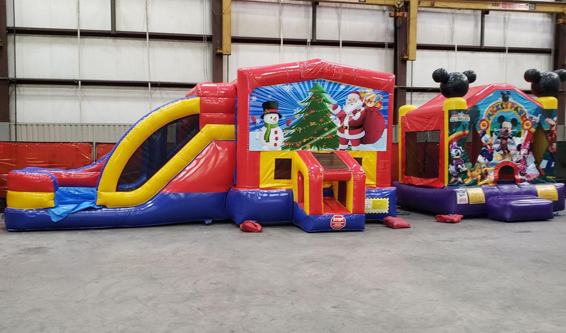 3in1 Christmas Moonwalk with Slide