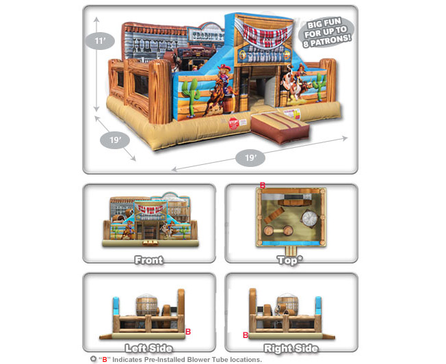 Kid Cowboy Bounce House Rentals Dimensions