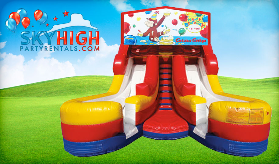 Double Curious George Water Slide Rentals