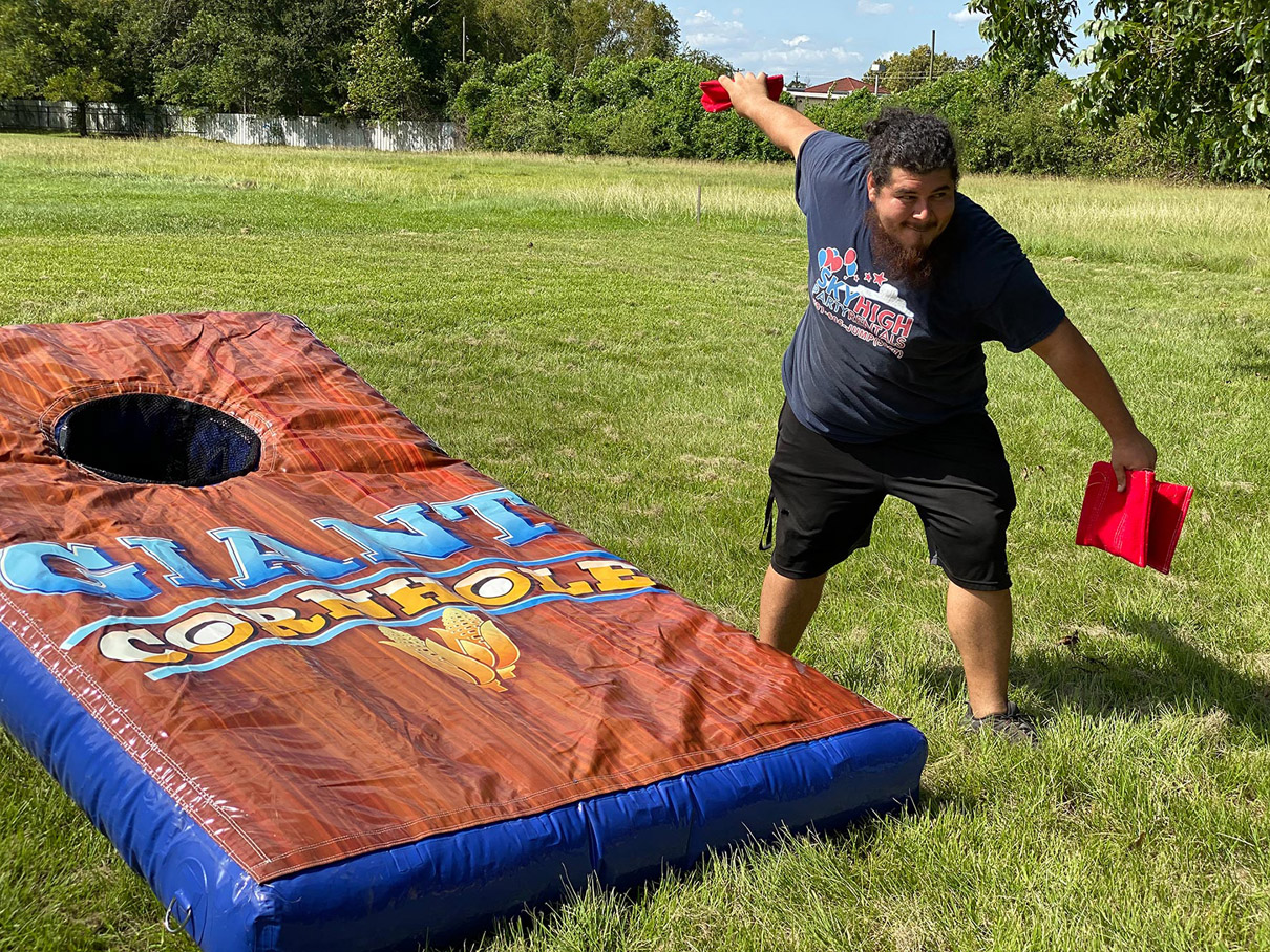 Playing Giant Corn Hole