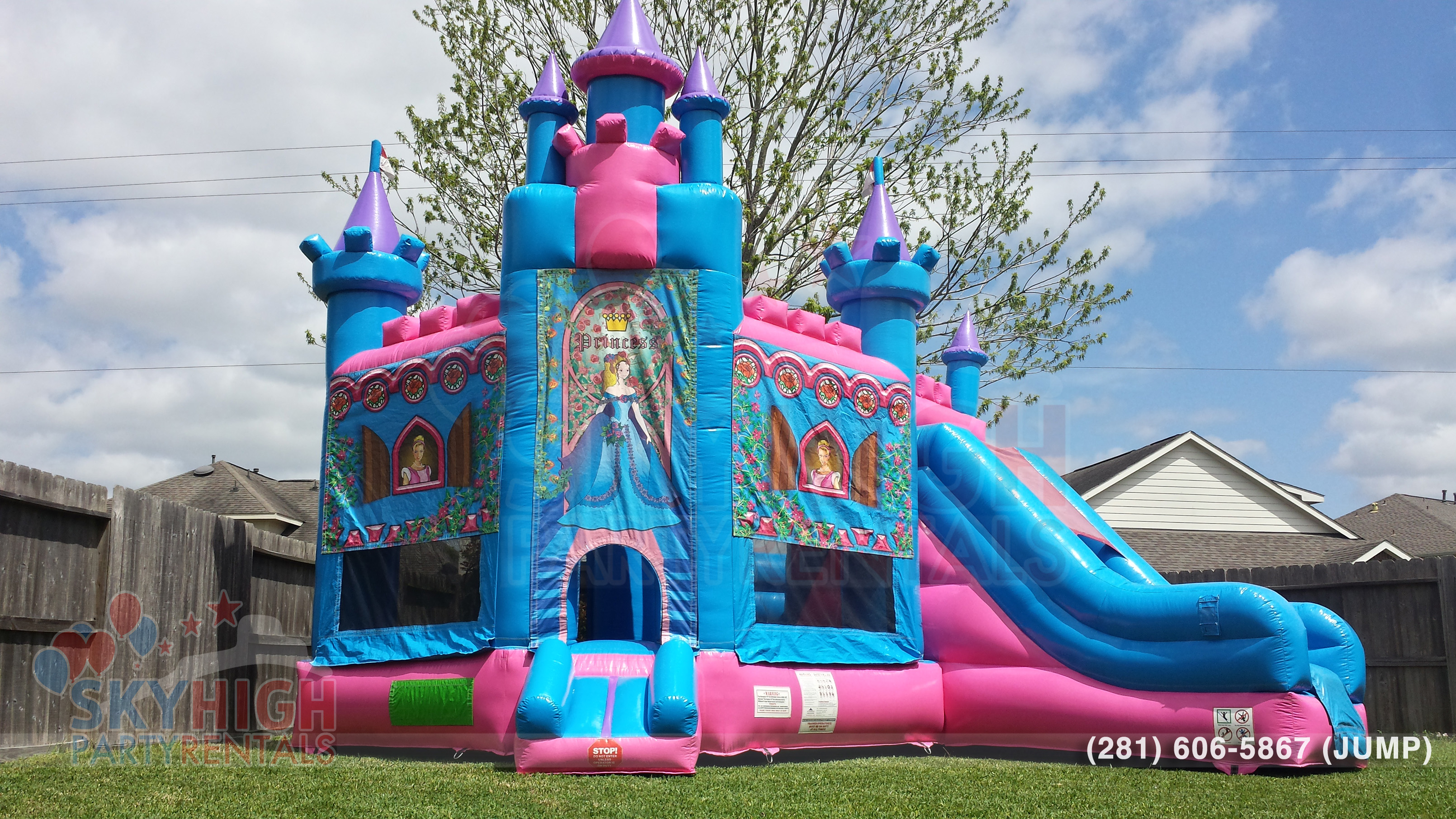 pink princess bounce house for rent
