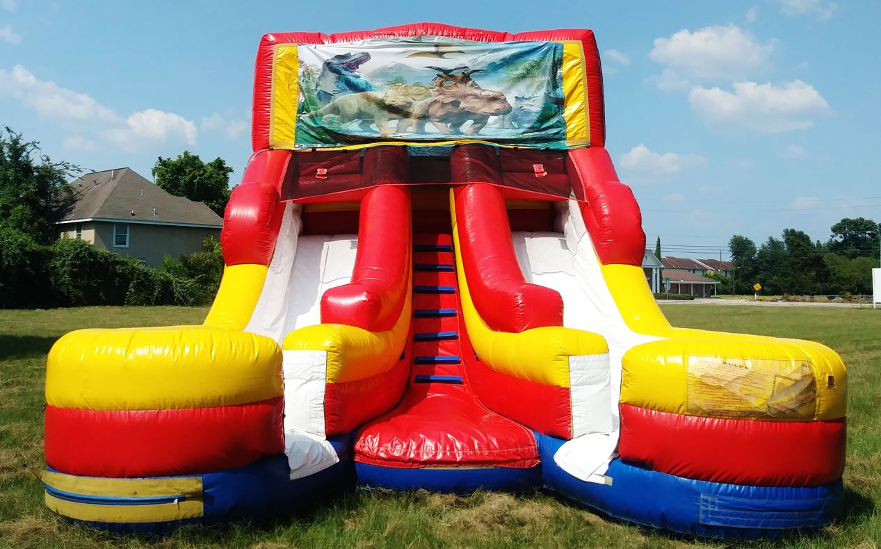 16ft Double Lane Dinosaur Slides