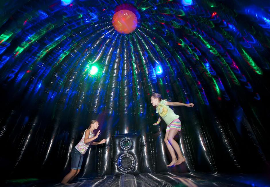 Inside the Disco Dome Bounce House