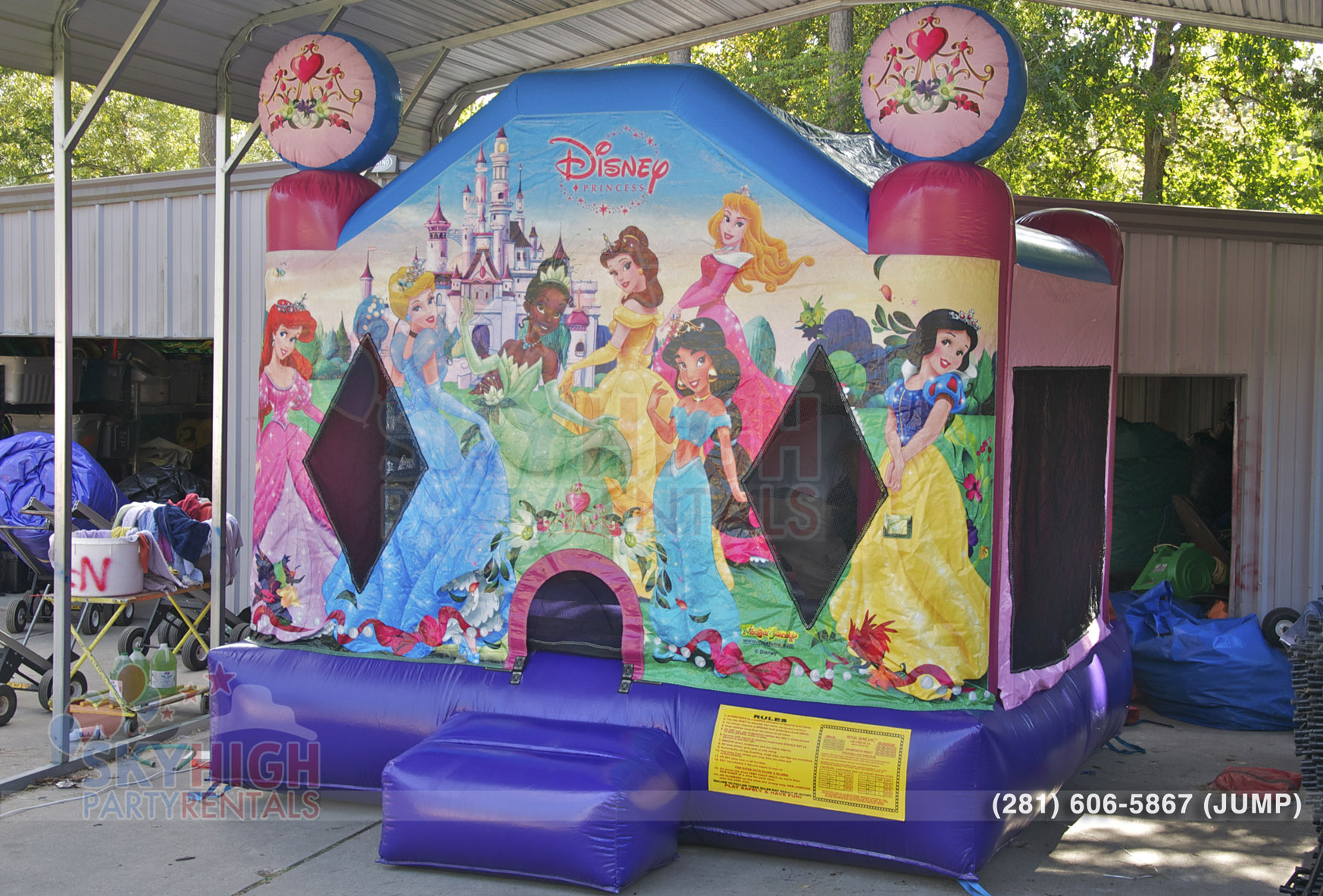 cinderella jasmin bell princess moonwalk princess themed jump house