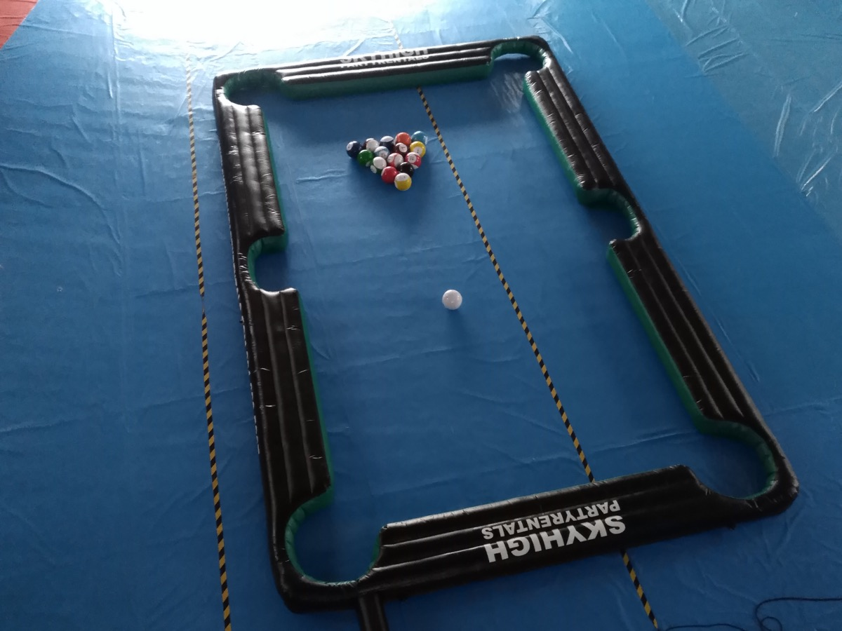 Giant Billiard Pool Table with Soccer Balls