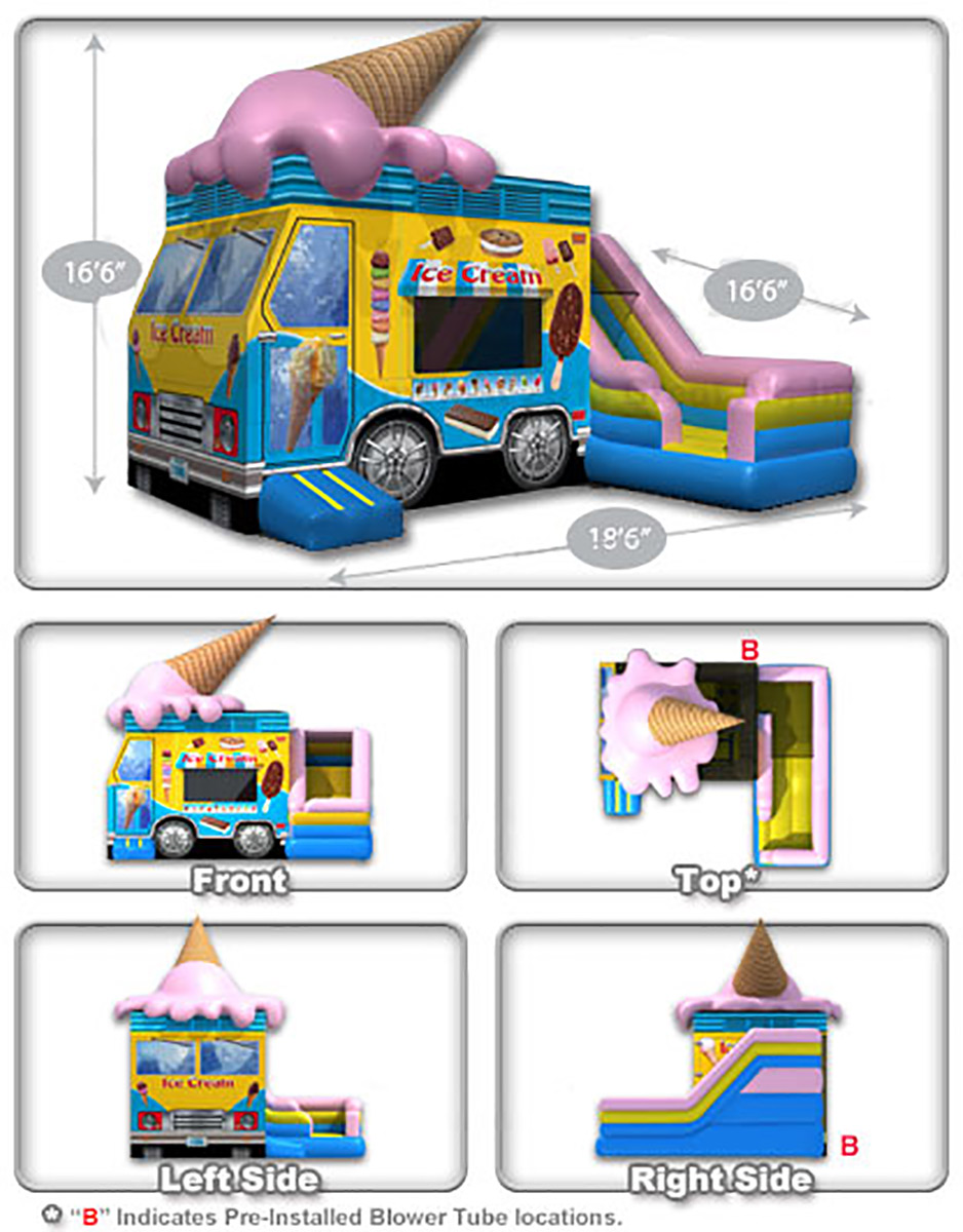 Ice Cream Truck Inflatable Combo Dimensions