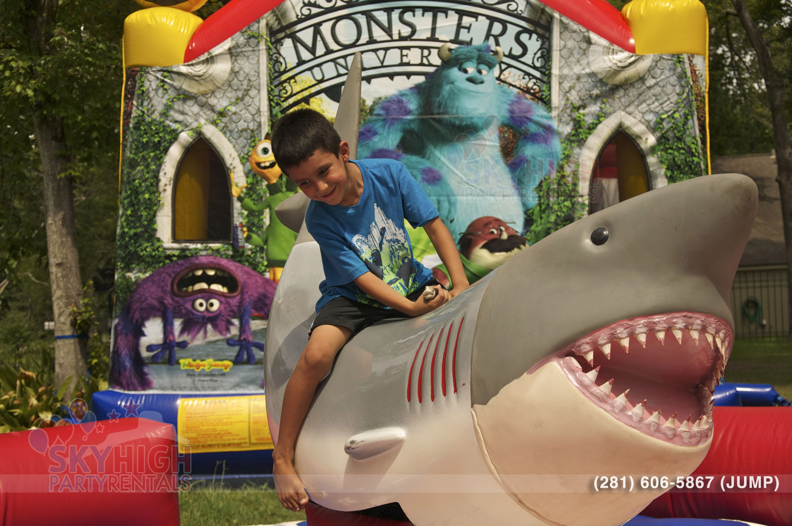 Kid Riding Mechanical Shark