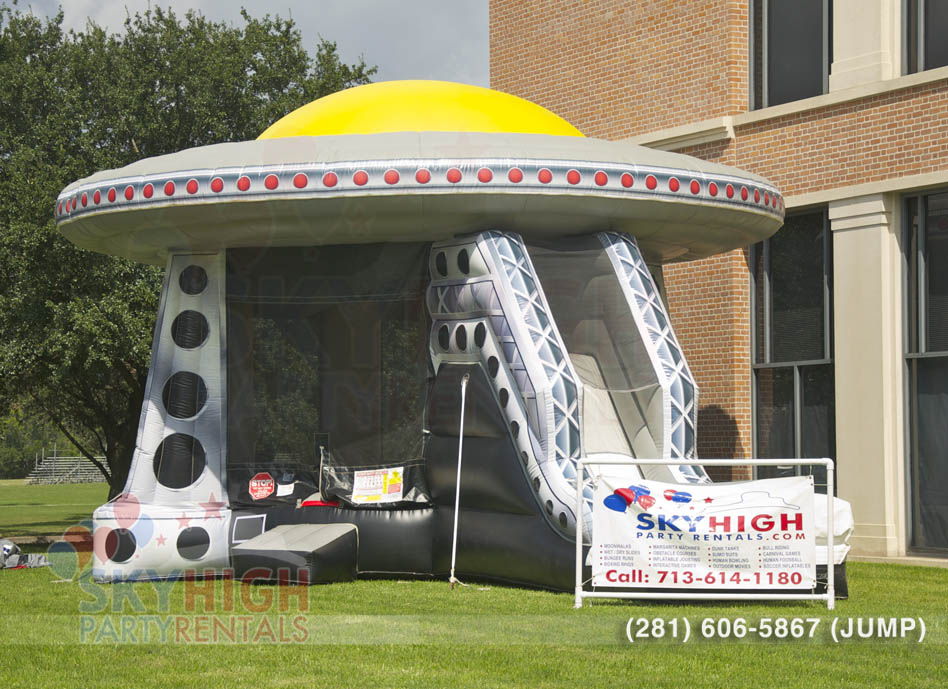 space ship themed bounce house