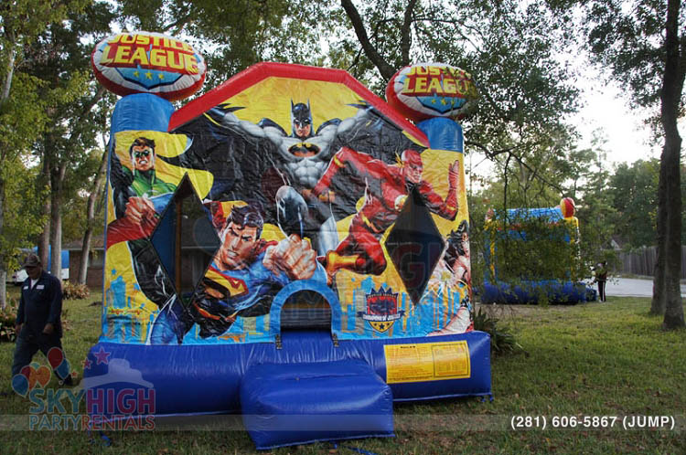 flash batman superman bounce house