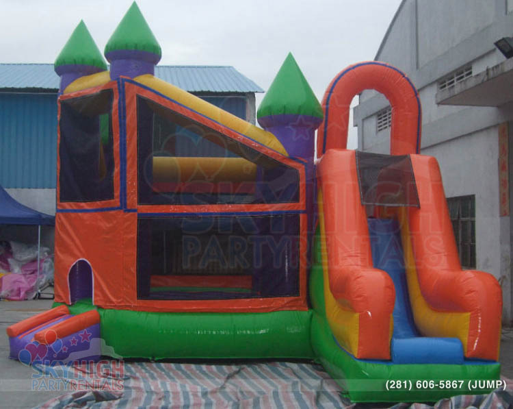 orange green bounce house