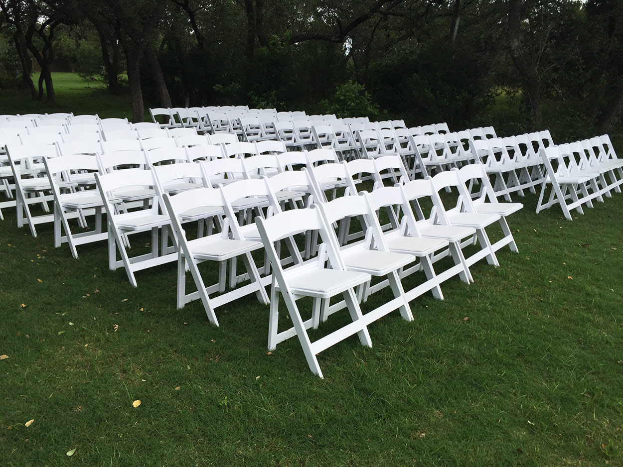 White Resin Folding Chairs for rent