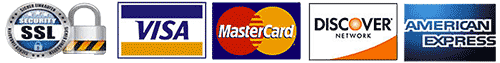 Secure Payments w/ Visa, Master Card, Discover, & American Express